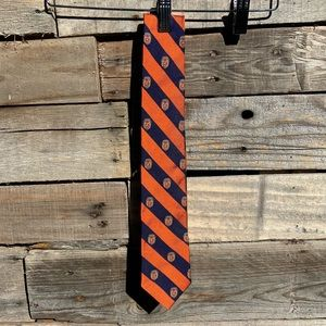 Brooks Brothers Orange Navy University Silk Tie with Red & Gold Crest Graphics